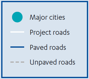 Key for preceding map showing cities and road types