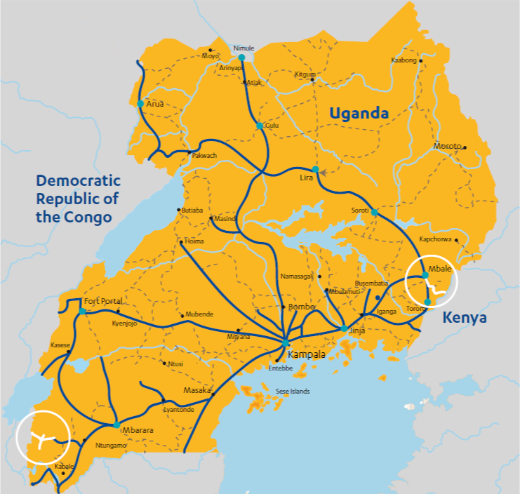 Map showing roads linking Uganda with the Democratic Republic of the Congo and eastern Uganda and Kenya