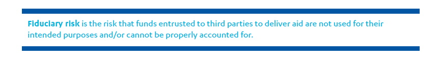 Quote saying: Fiduciary risk is the risk that funds entrusted to third parties to deliver aid are not used for their intended purposes and/or cannot be properly accounted for.