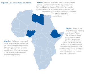 Map of Africa showing the report's case study countries: Libya, Nigeria, Ethiopia