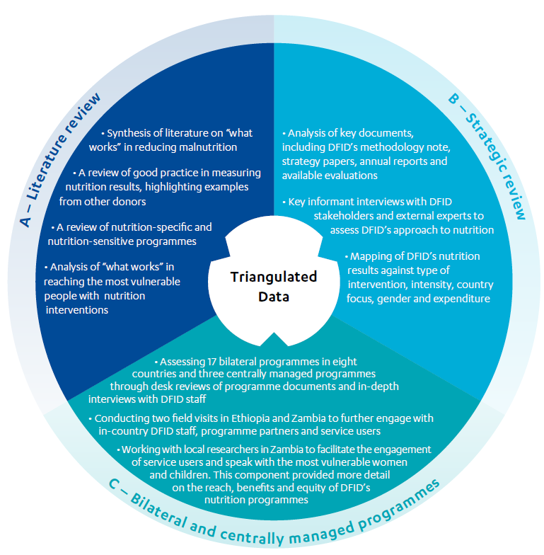 Graphic illustrating Methodological approach consisting of triangulated data including; literature review, strategic review and bilateral and centrally managed programmes