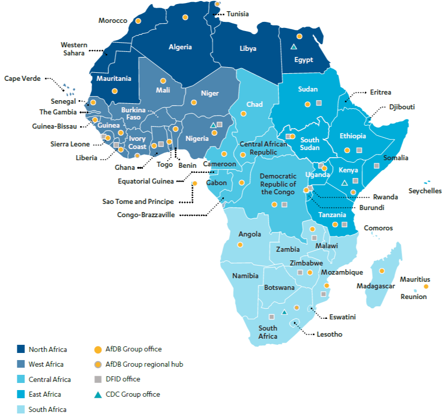 Map showing Distribution of the AfDB Group, DFID and CDC offices across Africa