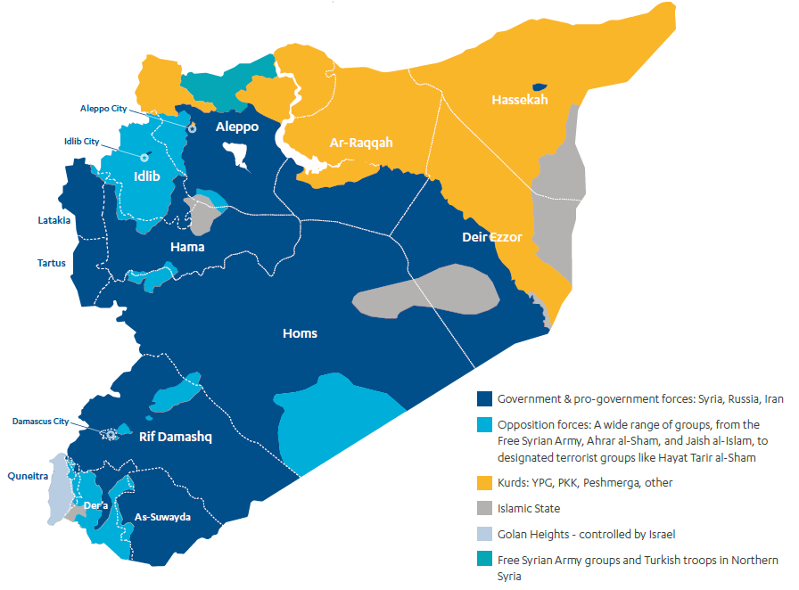 Map showing the zones of control in Syria; government, opposition forces, Kurds, Islamic state, Golan Heights and Free Syrian Army.
