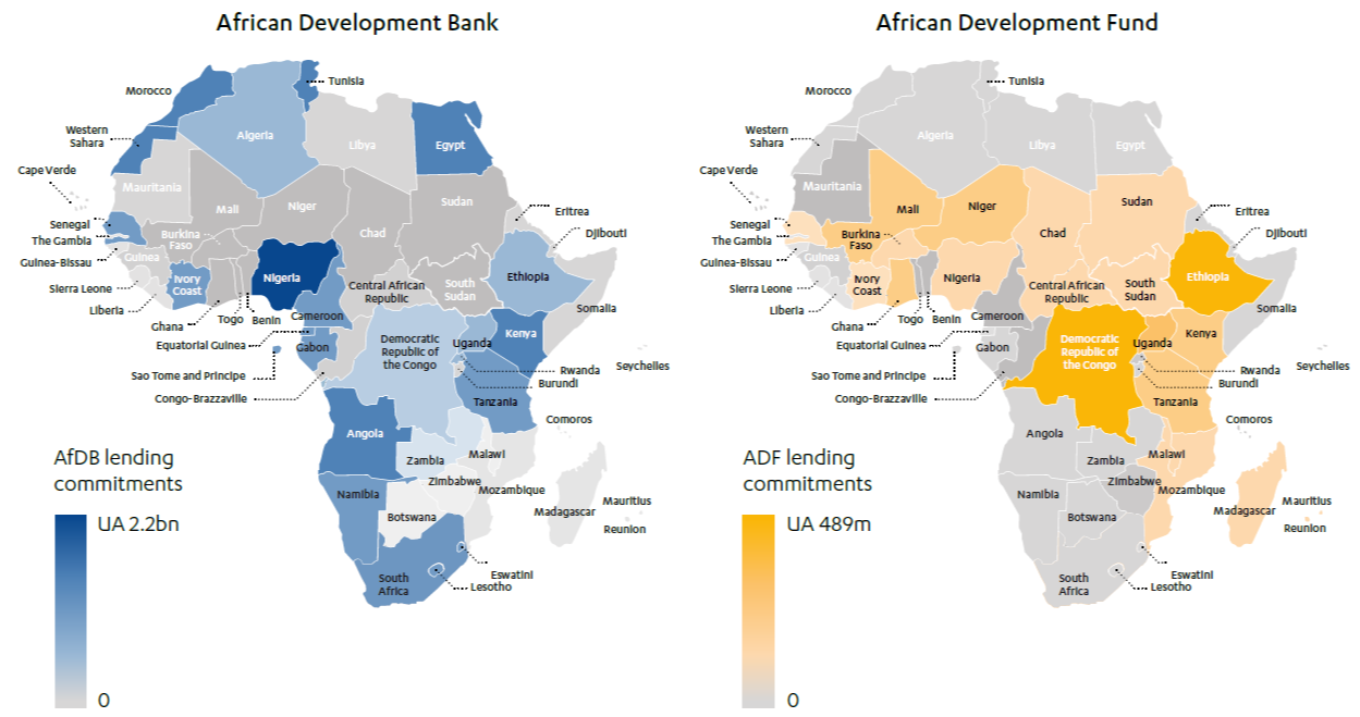 Maps showing Total lending commitments by country (2014-19) for African Development Bank and African Development Fund