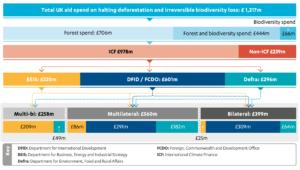 Figure 6: UK aid spent on halting deforestation and preventing biodiversity loss, 2015-2020