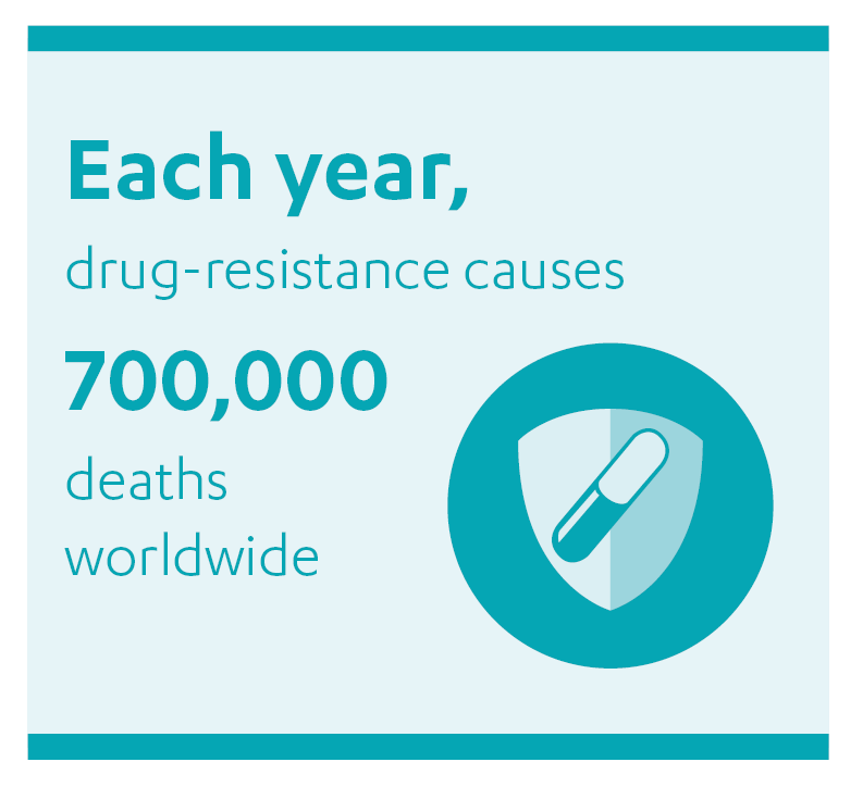 """Quote box: """"Each year, drug-resistance causes 700,000 deaths worldwide""""."""